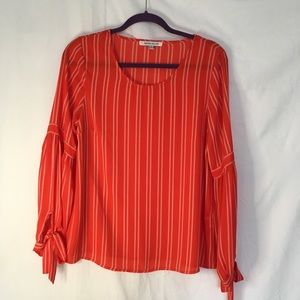 Rose + Olive red striped blouse. Size medium